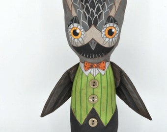Owl Doll Halloween Decor Original Hand Painted Cloth Folk Art Sculpture OOAK