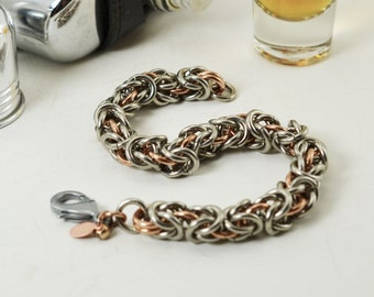 Men's 12 gauge Stainless Steel and Bronze Byzantine Chainmaille Bracelet
