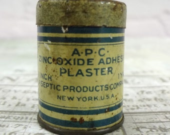 A P C Zinc Oxide Adhesive Plaster Tin // 1 inch 1 yard // Aseptic Products Company // New York USA // first aid medicine