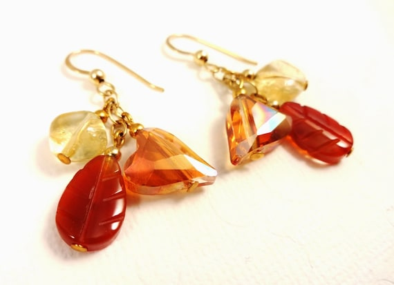 Ombre Earrings in Carnelian, Citrine and Crystal