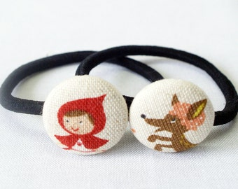 Little Red Riding Hood Ponytail Holder ~ Fabric Button ~ Covered Button ~ Hairband ~ Elastic Band (Set of 2) - 22mm (0.87 inch)