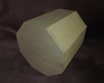 "Octagonal unfinished wooden box,with lid, 7""x6"", handbag,toy box,unpainted"