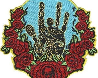 Grateful Dead Jerry Garcia Hand & Roses Embroidered iron on Patch 3 1/2""