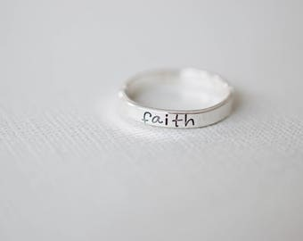 Faith Ring - Personalized Ring - Sterling Stacking Ring - Ring for Women - Gift for Her, Mom, Friend