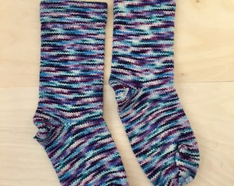 Granny's Cranky Knit Socks - Handmade Cozy - Purple Blue and Pink - Womens Small - WOOL/NYLON
