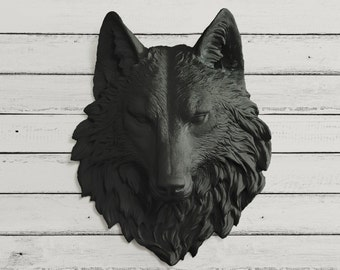 The Sierra -  Faux Wolf Head by Wall Charmers™ Faux Taxidermy - Fake Animal Head Mount - Forest Ceramic Plastic Resin Fauxidermy Wall Decor