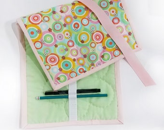 Quilted Pencil Case - floral circles