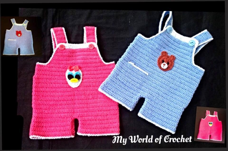 Baby Boy Girl Crochet Dungaree Overalls Romper Twins Dungaree