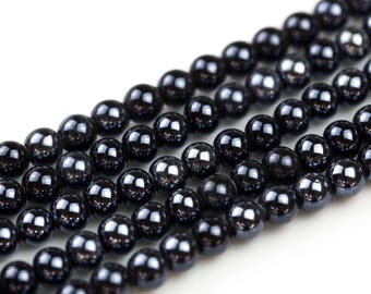 6mm 8mm 12mm Ceramic Smooth Round-11.5 inches per strand- Black Mystic