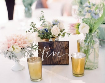 Wedding Double Sided Table Numbers,  Rustic, Wood Table Numbers, Calligraphy Table Numbers - Sophia Collection