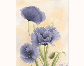 Purple Poppies Print (Matted)