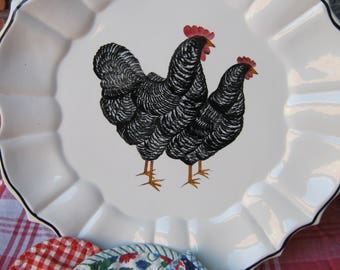 Fabulous Handpainted Italian Platter- Rooster and Hen