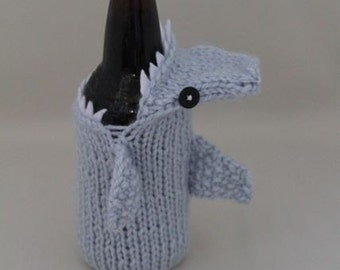 Bottlenose Shark Cozy, Geeky, Gift for Teacher, Gift for Student, Friends, Gift for Boyfriend, Beer Cozy, Sport Drink, Knitted,Father's Day