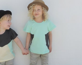Girls T-Shirt / Short Sleeves T-shirt / Color block Shirt / Toddler Summer / Hipster Toddler Clothes / Turquoise Tee / Size 3T