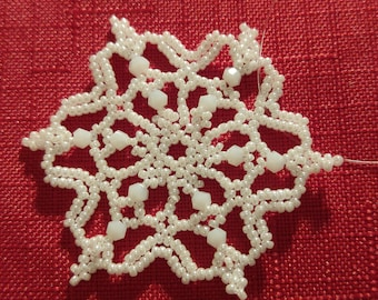 White Crystal and Beaded Snowflake Ornament