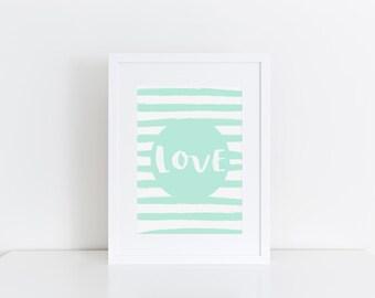 Mint Nursery Wall Art Love Print Kids Room Decor Kids Prints Nursery Print Love Typographic Print Gift For Kids Nursery Picture