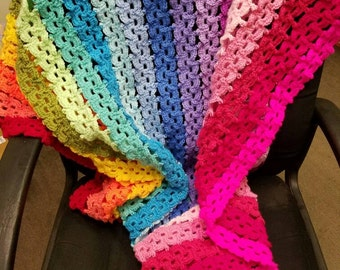 Rainbow of colors child afghan