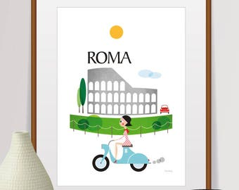 mid century modern art, city prints, travel poster, roma print, city illustration, coliseum,  retro poster, italy poster, wall art, roma