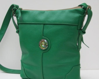 On Sale Green LEATHER SHOULDER BAG by Elizabeth Z Mow  The Grass  is Always Greener