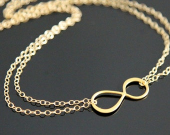 Gold INFINITY Necklace, Double Strand Infinity Necklace, Gold Filled and Vermeil.