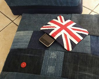 pouf floor Union Jack cushion union jack jeans recycled