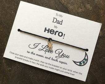 Fathers Day Card Dad, Birthday Card Dad, Fathers Day Gift Dad, Fathers Day Present Dad, Wish Bracelet Dad, present Dad, gift Dad