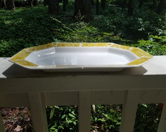 Vintage Independence Ironstone By Interpace Octagonal Platter With Yellow Flower Pattern