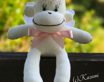 MADE-TO-ORDER Sock Monkey Angel(Girl) - Sock Monkey Doll, Angle Doll