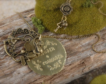 SALE Alice Inspired Curiouser and Curiouser Necklace