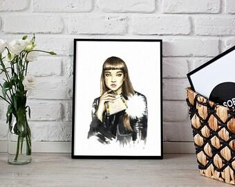 fashion print, Fendi illustration, wall art - 3 sizes available Giclee print