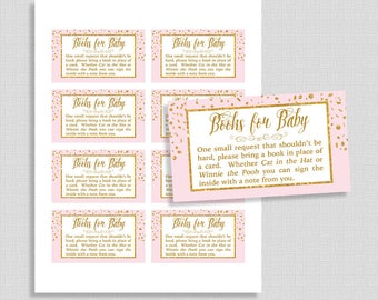 Pink Books For Baby Cards, Pink & Gold Glitter Confetti Invitation Insert, Book Request, DIY Printable, INSTANT DOWNLOAD