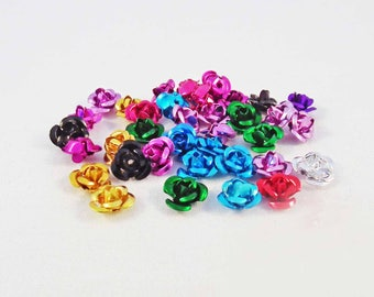 50 beads aluminium 6mm mixed color flowers