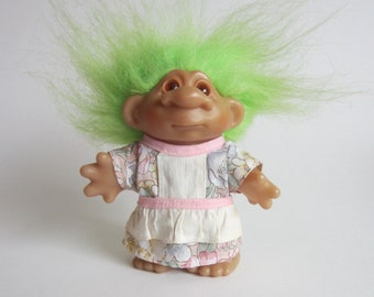 1986 Dam Green Haired Troll in Floral Dress