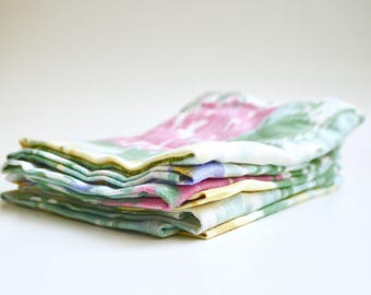 80's Ekat Cloth Napkins. Recycled Fabric.  Set of 6.