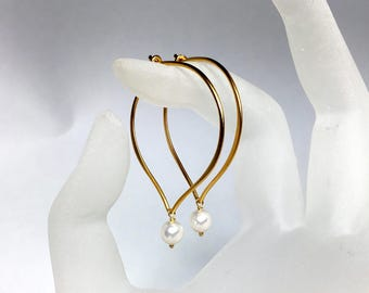 Pearl Earrings, Gold Hoop Ear Wires, Lotus Petal, Medium or Large, 24k Gold Vermeil, Bridal Earrings, Gifts for Her