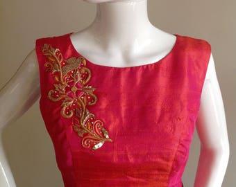Peach pink raw silk crop top with zardosi design