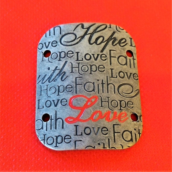 CLEARANCE 3 pcs Antique Silver Love Hope Faith Charm for Wrist Cuff Belt Purse Hat Plaque Craft, Christian Jewelry Love Charms