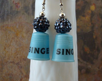 Vintage Singer advertising thimble earrings, blue with black print, ear wire