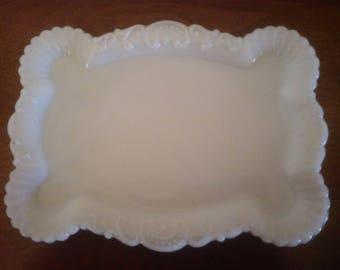 Beautiful Vintage Dresser Tray - Milk Glass Dresser Tray - Dresser Tray - Dresser Storage - Milk Glass - Pin Tray