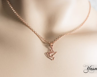 Dove on Sterling rose gold plated