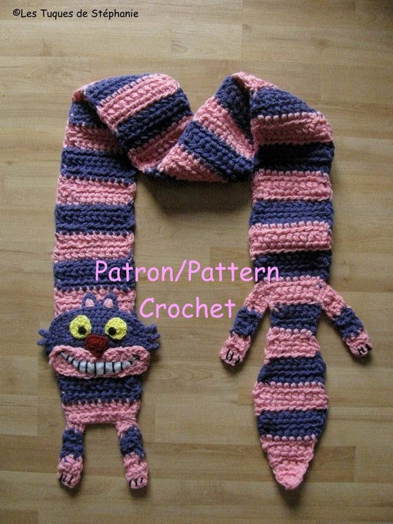 Crochet PATTERN Cheshire Cat scarf , Alice in wonderland inspired ...