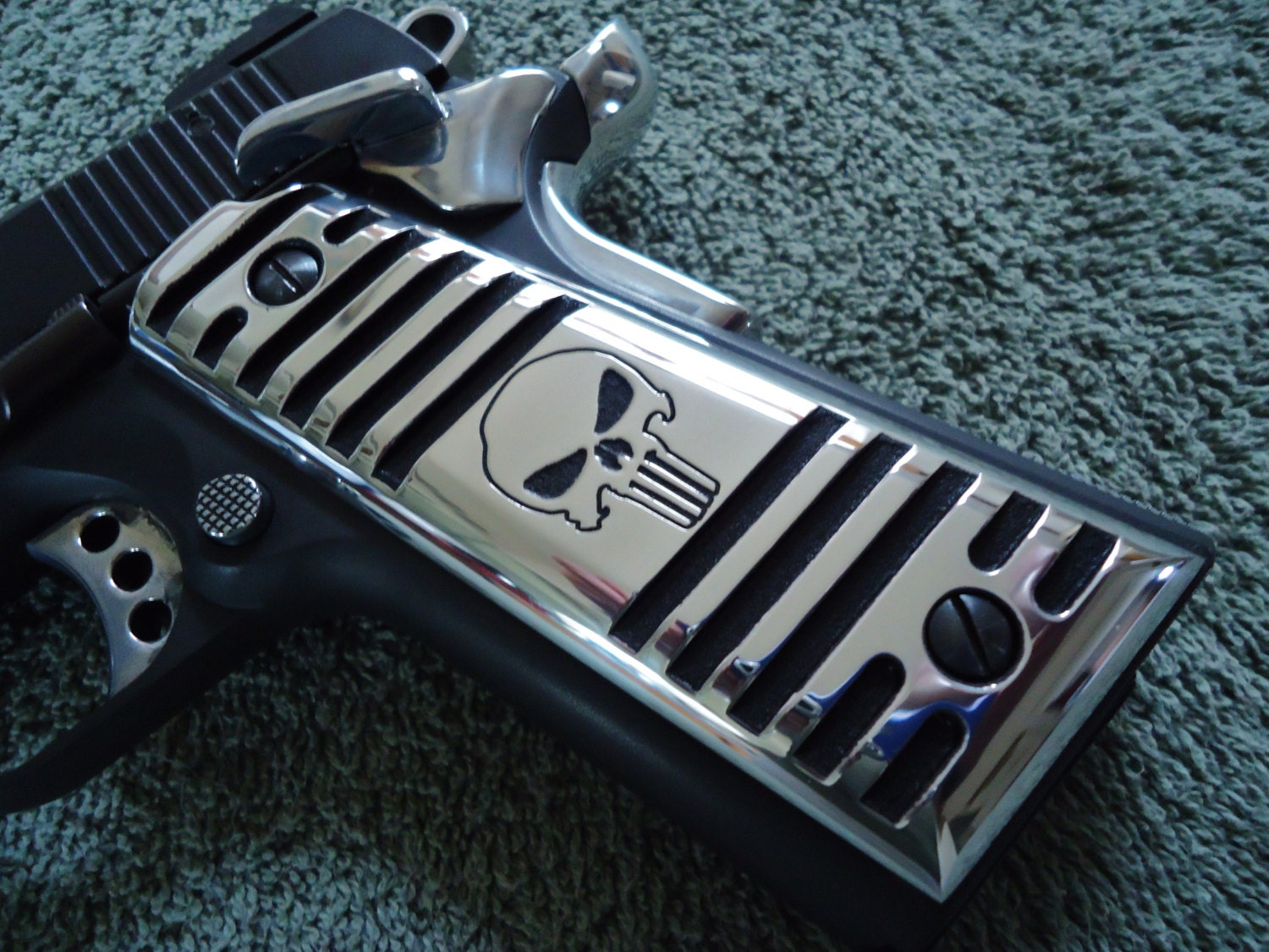 Punisher Skull 1911 grips CNC Machined Polished Finned