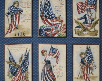 Americana Vintage Postcard Style Fabric Panel Off The Bolt