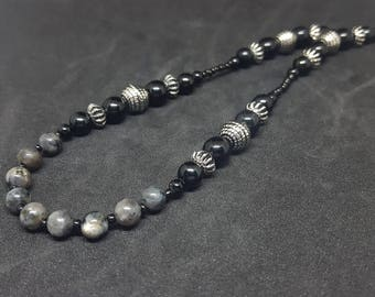 Larvikite and Onyx necklace