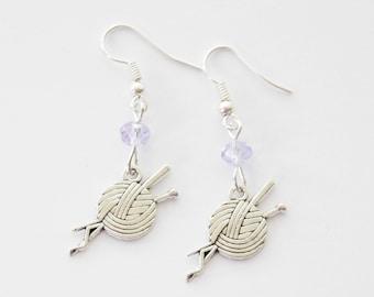Yarn Earrings, Wool Earrings, Knitting Earrings, Crochet earrings, Knit Jewelry, Girlfriend Earrings, BFF Jewelry, Birthstone Gift