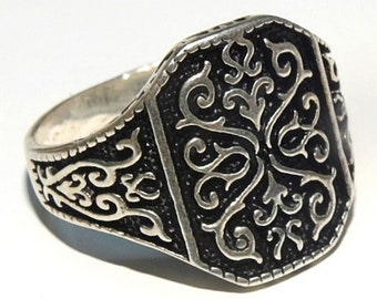 handmade 925 sterling silver men ring solid sterling silver middle eastern ring