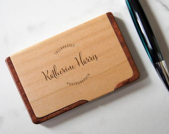 Customized Business Cards Holder, Personalized Wooden Business Cards Holder, Engraved Business Cards cases