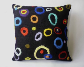 "Felt cushion ""rings and dots"" merino wool Handcraft, felt pillow handmade merino wool"