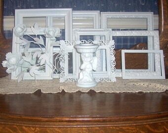 Frames Wall Grouping Heirloom white Weddings  Romantic French Country Victorian  Shabby Chic Cottage Vintage