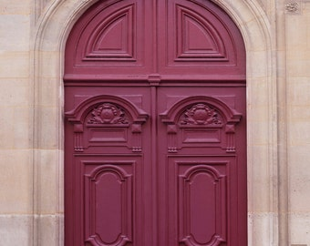 Paris Door Photograph - Maroon Door, Parisian Architecture Fine Art Photo, Home Decor, French Wall Art